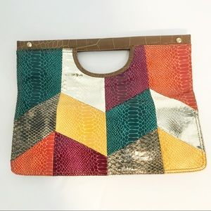 Nine West multicolored snakeskin clutch